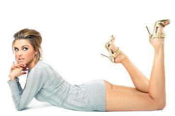 A beautiful woman showing her legs