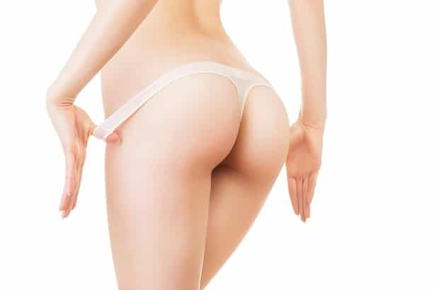 close-up photo of woman hips on white background
