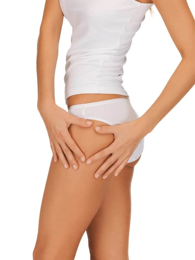 closeup picture of woman in cotton underwear showing cellulite concept