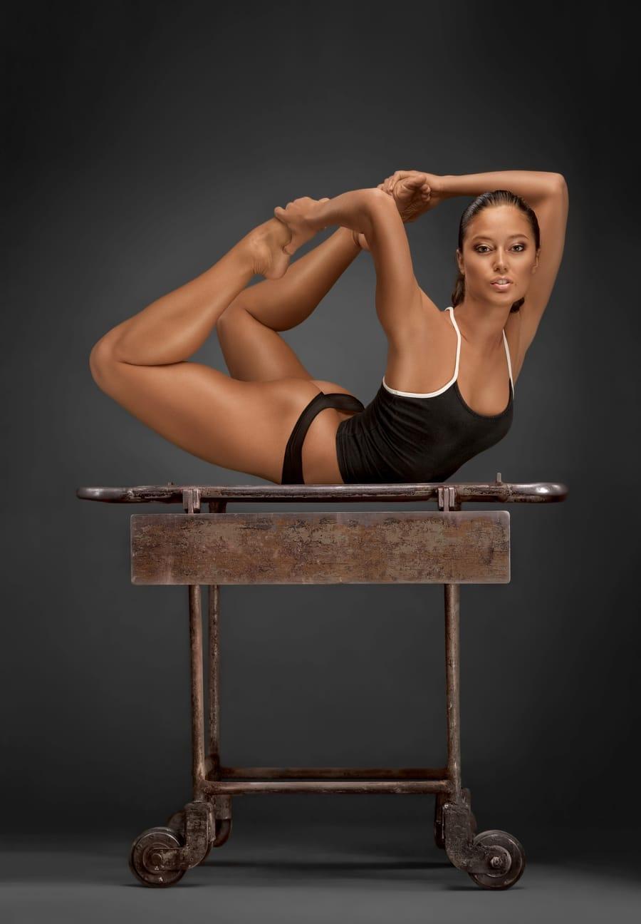 A beautiful woman exercising