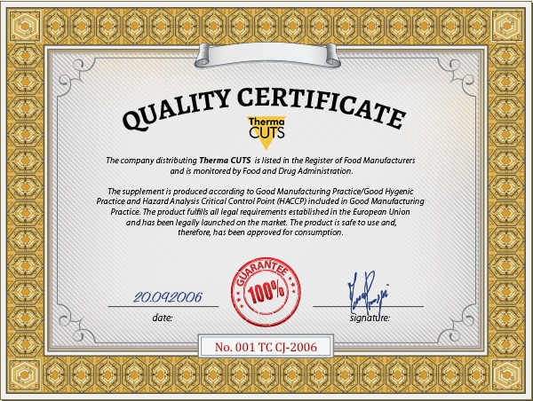 ThermaCuts Quality Certificate