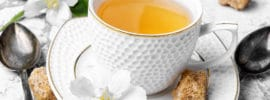 glass of herbal tea with the aroma of Jasmine flower