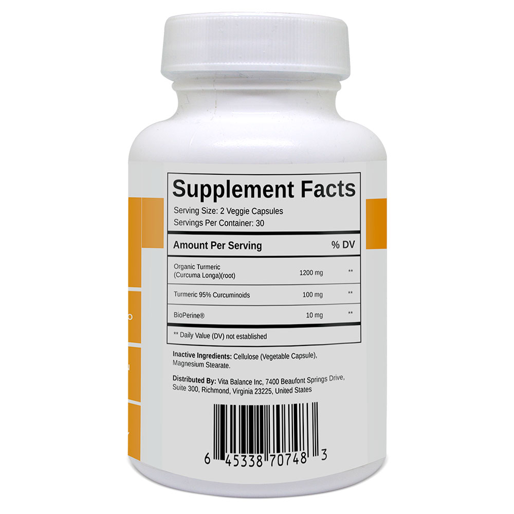turmeric curcumin plus supplement facts